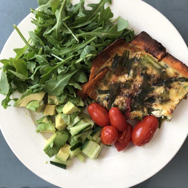 Asparagus Quiche with sweet potato crust GF