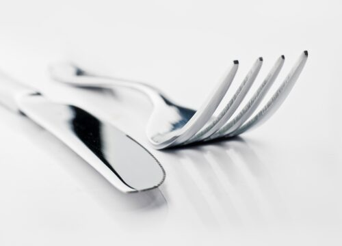 Close up of a silver knife and fork