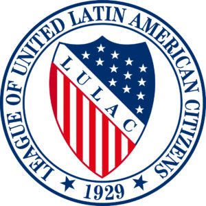 red, white and blue shield logo for LULAC
