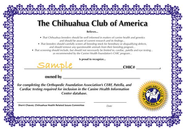 CHIC Sample Certificate