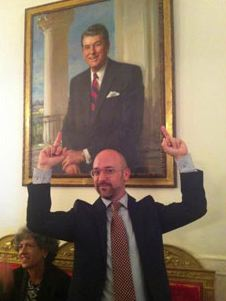 Giving Ronald Reagan the bird at the White House (hat tip to Wayne Allyn Root)