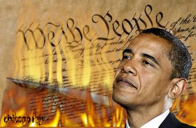 President Obama looks on approvingly as the Constitution burns