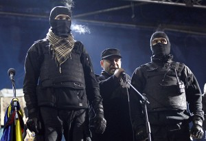 Yarosh, a leader of the Right Sector movement addresses during a rally in central Independence Square in Kiev