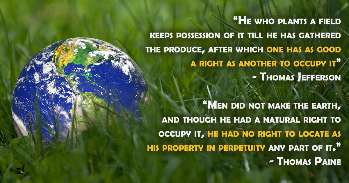 An image of an earth globe sitting in a field of grass displaying two quotes by Thomas Paine and Thomas Jefferson.