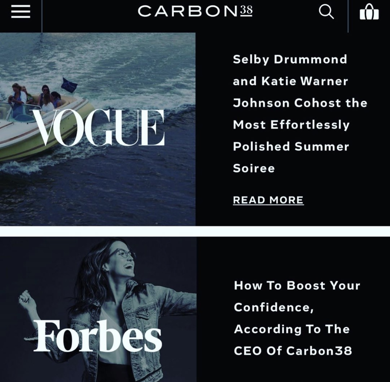 Carbon38 vogue Forbes promo code shawn rene zimmerman
