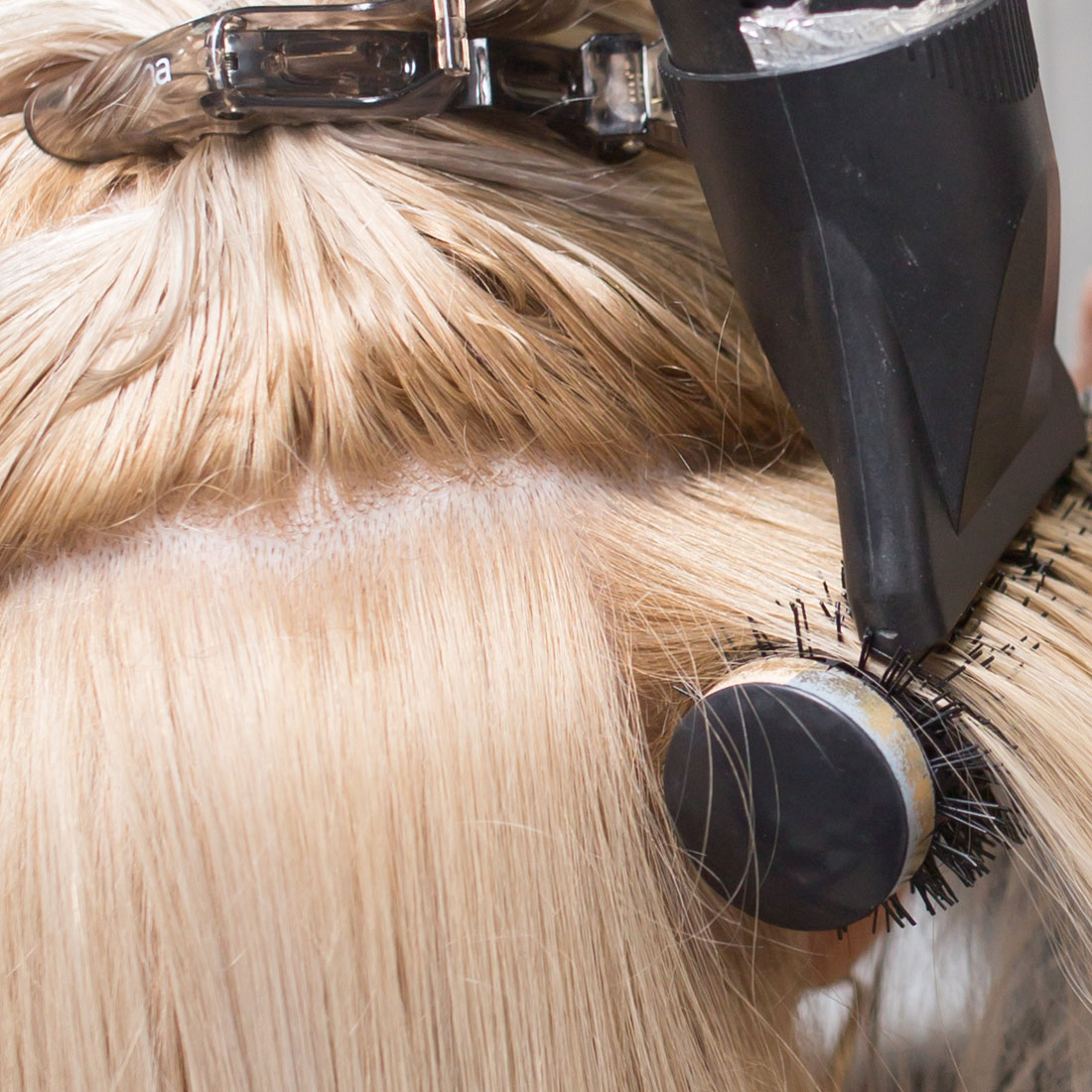 Blow dry hair at salon