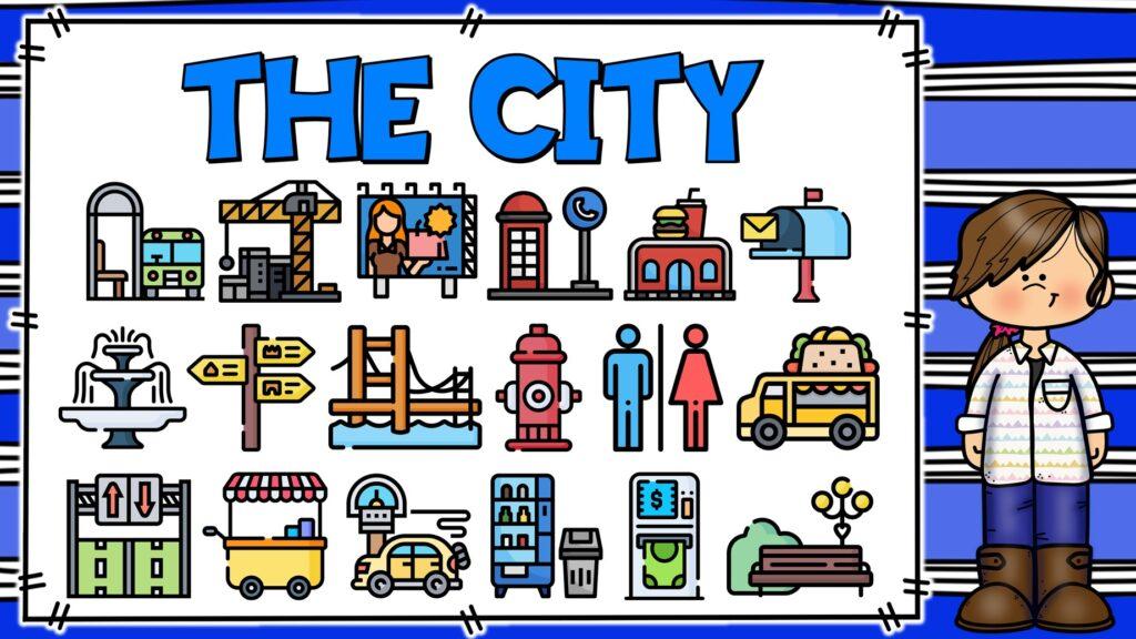 cosas que se encuentran en una ciudad en inglés