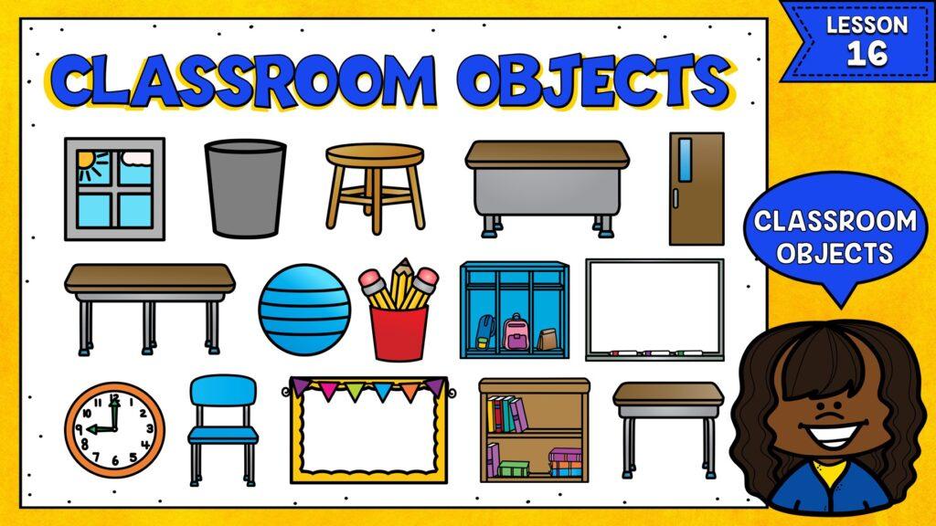 objetos del salón de clases en inglés