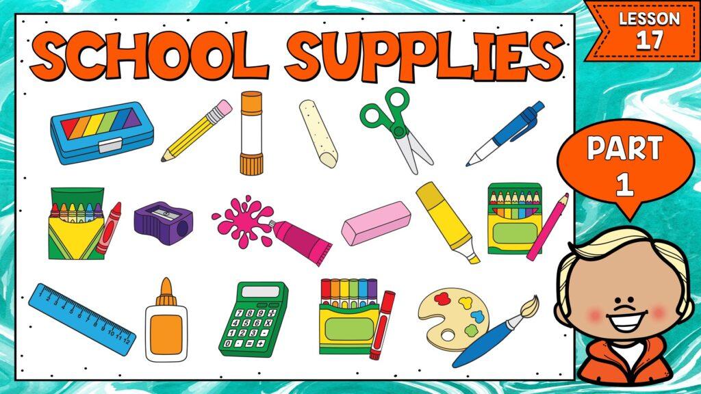 útiles escolares en inglés y español classroom objects