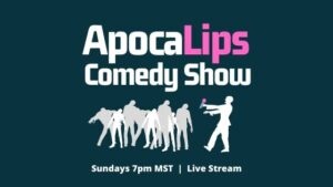 ApocaLips Comedy Show, Sunday nights at 7pm. Zombies are in the audience. A zombie holds a microphone and tells jokes.