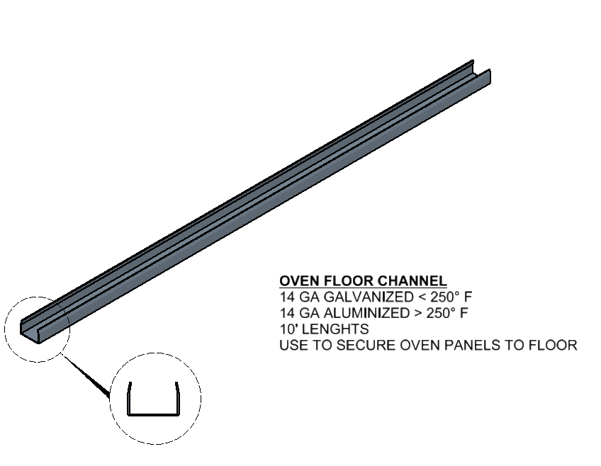 Oven Floor Channel Component
