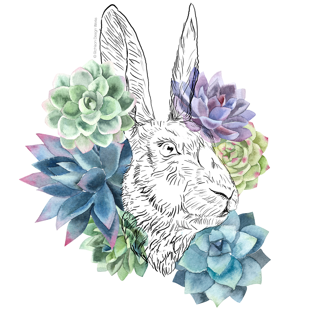 """Hare and Succulents"". Mixed media."