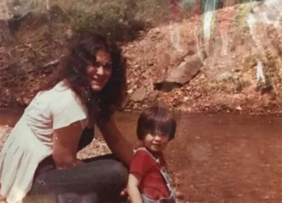 Dorothy Jane Scott And Her Son In Front Of River