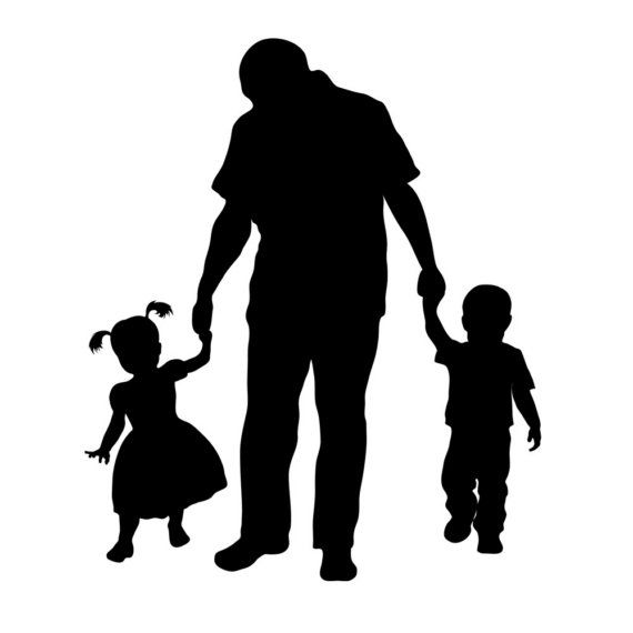Shadow Of Man With Two Kids