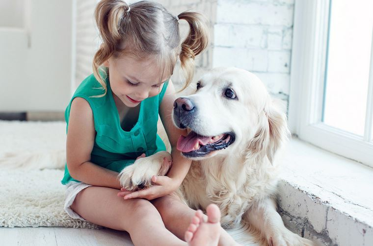 Little Girl Sitting With Dog