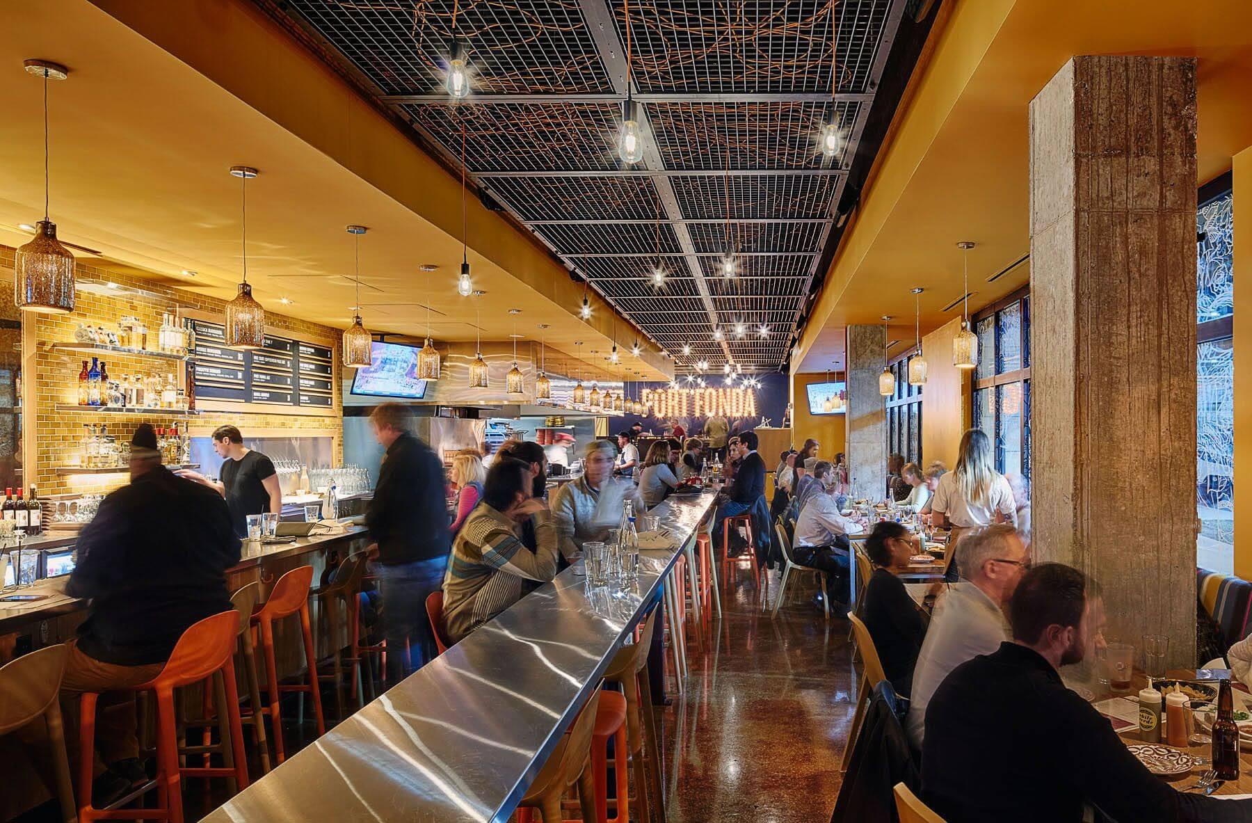 Port Fonda, interior design, Mexican cuisine, Vinyl Tattoo Window Graphics, Mexican restaurant