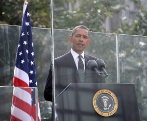 President Obama speaking at 10-Year Commemoration Ceremony of Sept 11 Attacks at Ground Zero, NYC © 2015 Karen Rubin/news-photos-features.com