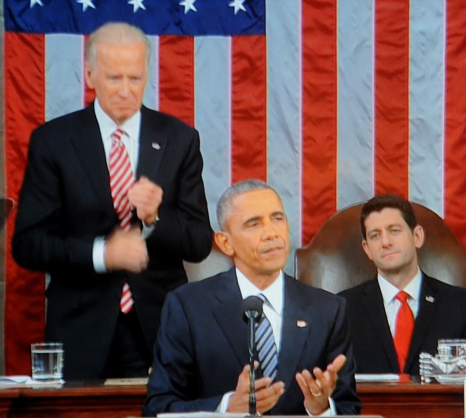 """President Obama, in his final State of the Union, addressed the ISIL/terror threat saying, """"But as we focus on destroying ISIL, over-the-top claims that this is World War III just play into their hands.  Masses of fighters on the back of pickup trucks, twisted souls plotting in apartments or garages -- they pose an enormous danger to civilians; they have to be stopped.  But they do not threaten our national existence.  That is the story ISIL wants to tell.  That's the kind of propaganda they use to recruit.  We don't need to build them up to show that we're serious, and we sure don't need to push away vital allies in this fight by echoing the lie that ISIL is somehow representative of one of the world's largest religions.  (We just need to call them what they are -- killers and fanatics who have to be rooted out, hunted down, and destroyed. And that's exactly what we're doing."""" © 2016 Karen Rubin/news-photos-features.com"""