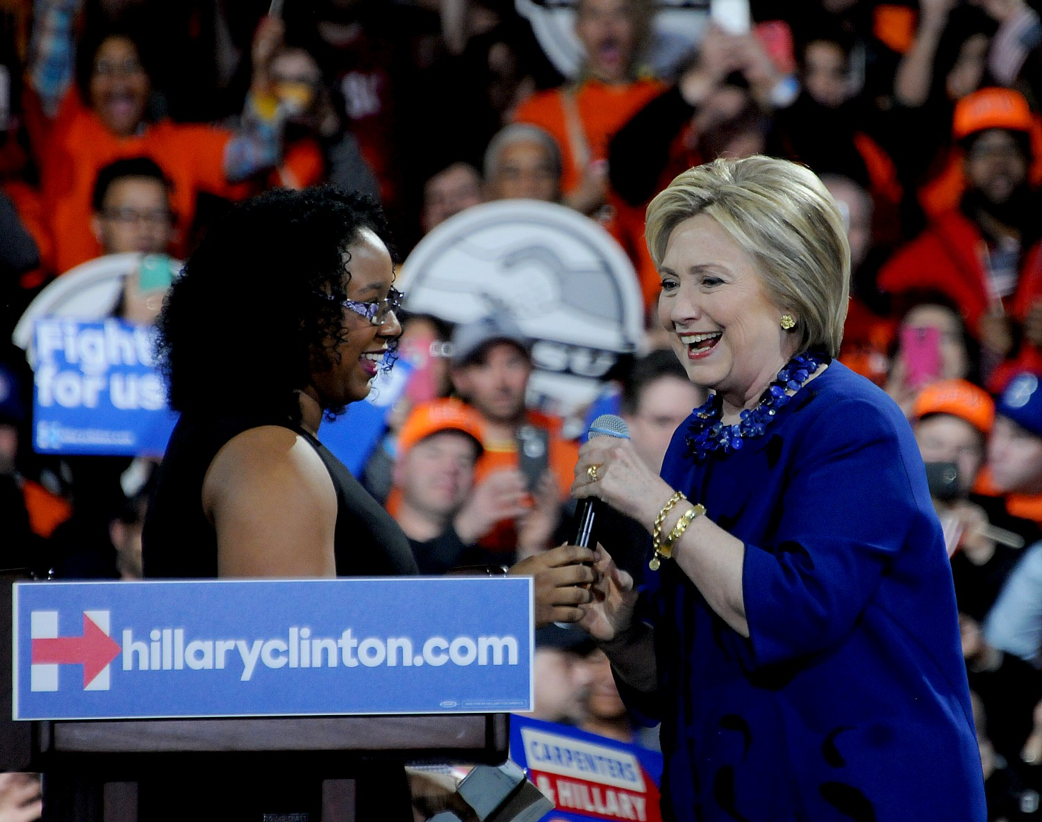 """Hillary Clinton greets Aleatha Williams, who introduced Clinton at the NYC rally saying, """"She kept her promise to me, a young girl from the Bronx. That's the type of person we need in the Oval office."""" © 2016 Karen Rubin/news-photos-features.com"""