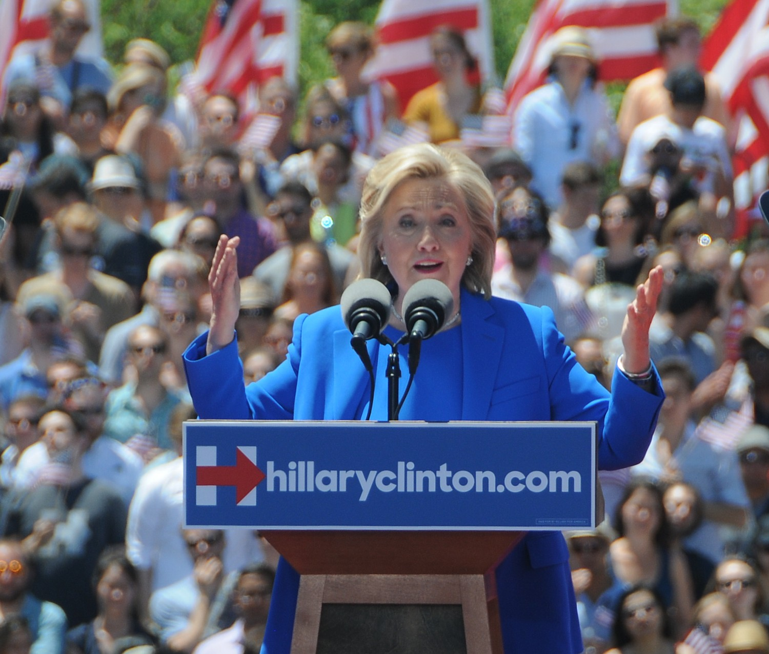 """Hillary Clinton campaigning for president. Clinton has offered a detailed strategy for defeating terrorism while attacking Republican opponents saying,""""Slogans aren't a strategy. Loose cannons tend to misfire. What America needs is strong, smart, steady leadership to wage and win this struggle.""""  © 2016 Karen Rubin/news-photos-features.com"""