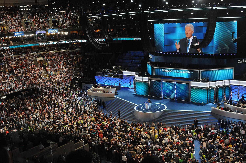 President Bill Clinton speaks to the Democratic National Convention in Philadelphia© 2016 Karen Rubin/news-photos-features.com
