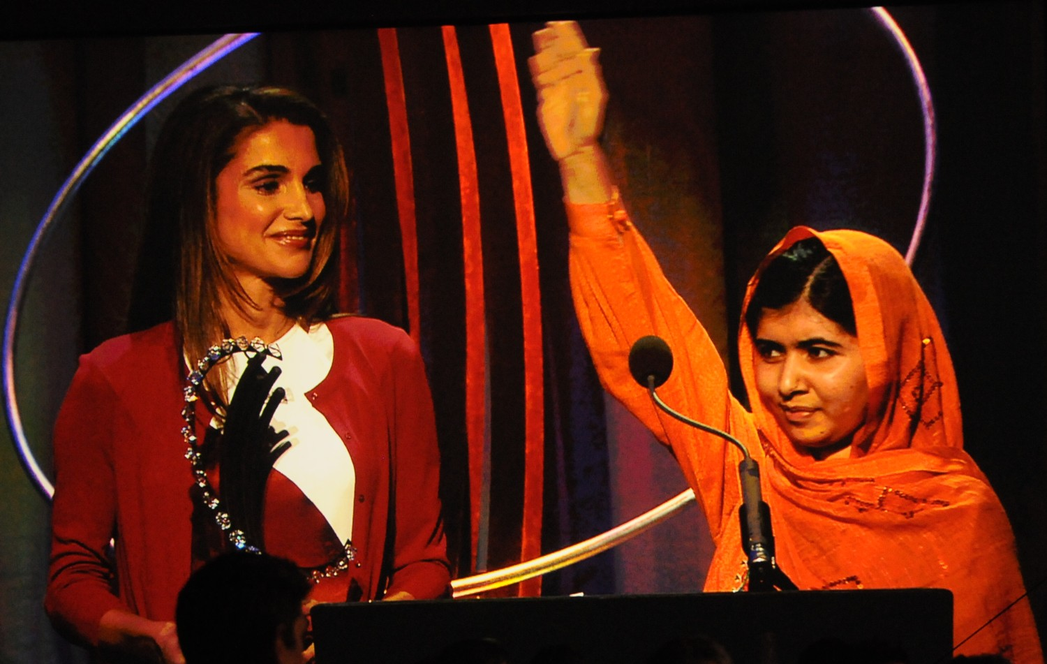 Malala Yousafzai, Nobel Peace Prize Winner, with Queen Rania of Jordan, after being awarded the Clinton Global Citizen award in 2013 © 2016 Karen Rubin/news-photos-features.com
