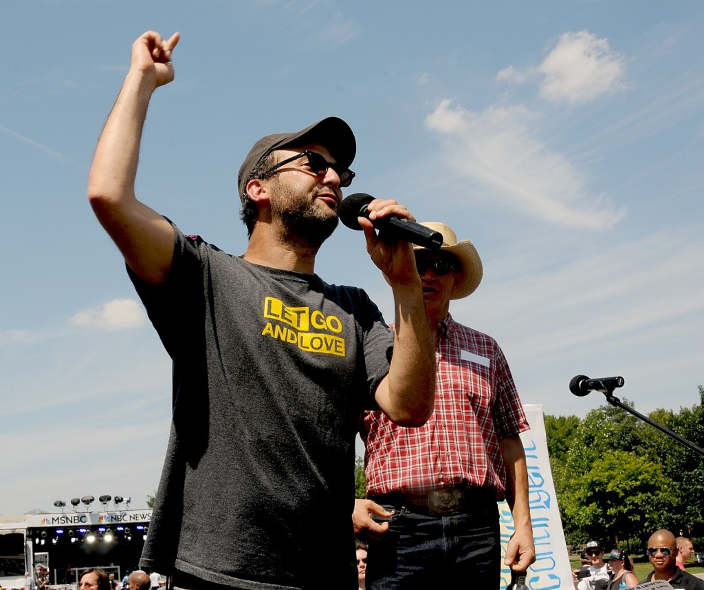 Josh Fox, who made the documentaries Gasland and Gasland II, at the Climate Revolution March and Rally in Philadelphia July 24, 2016 © 2016 Karen Rubin/news-photos-features.com