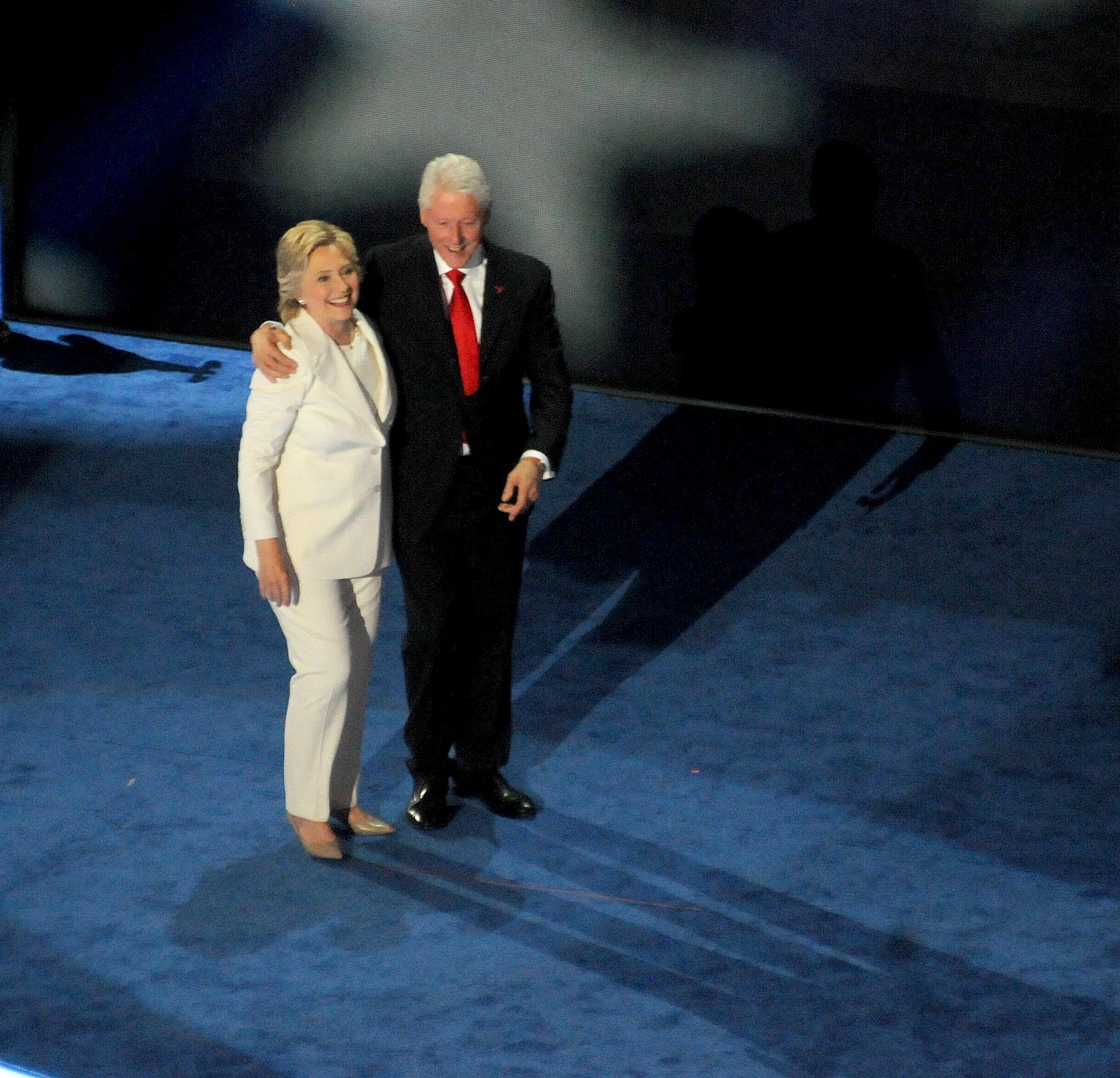 Hillary Clinton, after giving her acceptance speech at the Democratic National Convention, with husband, President Bill Clinton © 2016 Karen Rubin/news-photos-features.com