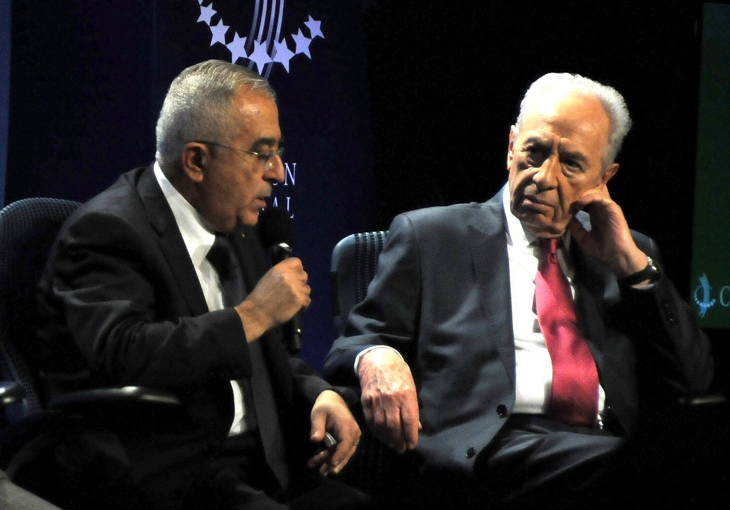 """""""I think peace would be better for everyone,"""" Palestine National Authority Prime Minister Salam Fayyad tells Israel President Shimon Peres at the 2010 Clinton Global Initiative. """"People throughout the region could interact more freely – in peace, security."""" © 2016 Karen Rubin/news-photos-features.com"""