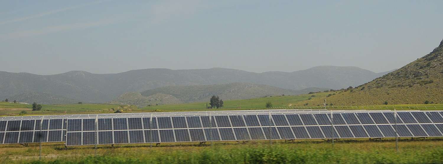 Solar energy array, Greece. Even as President Obama works to make clean, renewable energy readily available for all Americans, the incoming Trump Administration is likely to reverse course in favor of boosting fossil fuels. © 2016 Karen Rubin/news-photos-features.com