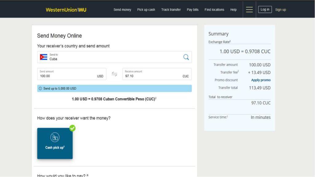 Calculadora de Western Union