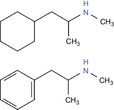 The single chemical difference between propylhexedrine (top) and methamphetamine (bottom) is the aromatic ring.