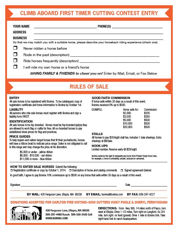 Bonina Fall Fun Show & Treaty Horse Sale Entry Forms