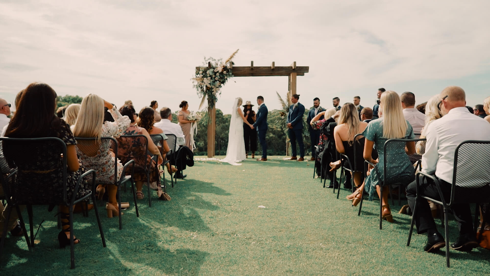 wide angle of sunset ceremony