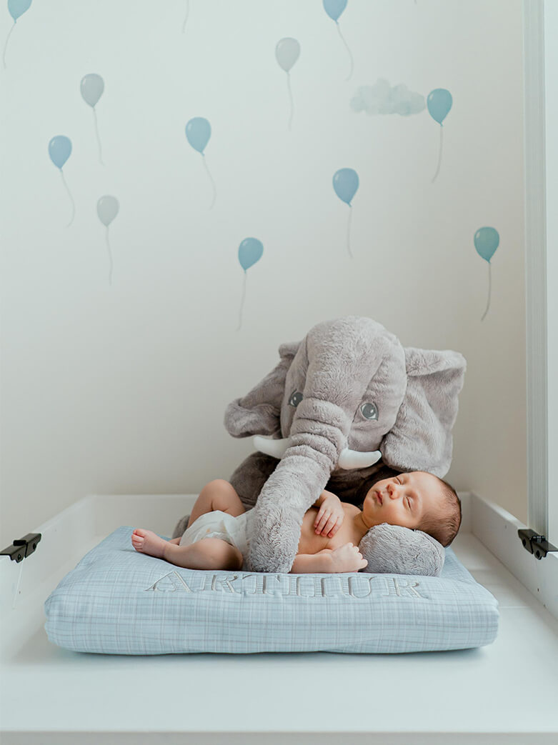 newborn films and photos: baby boy laying in teddy elephant's lap