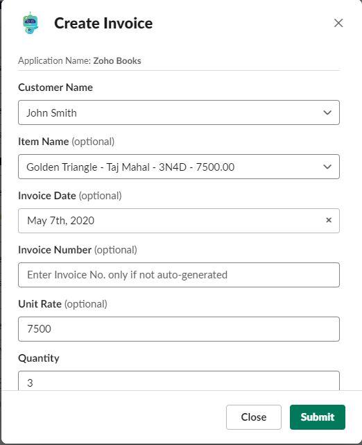 Create Invoice - Zoho Books