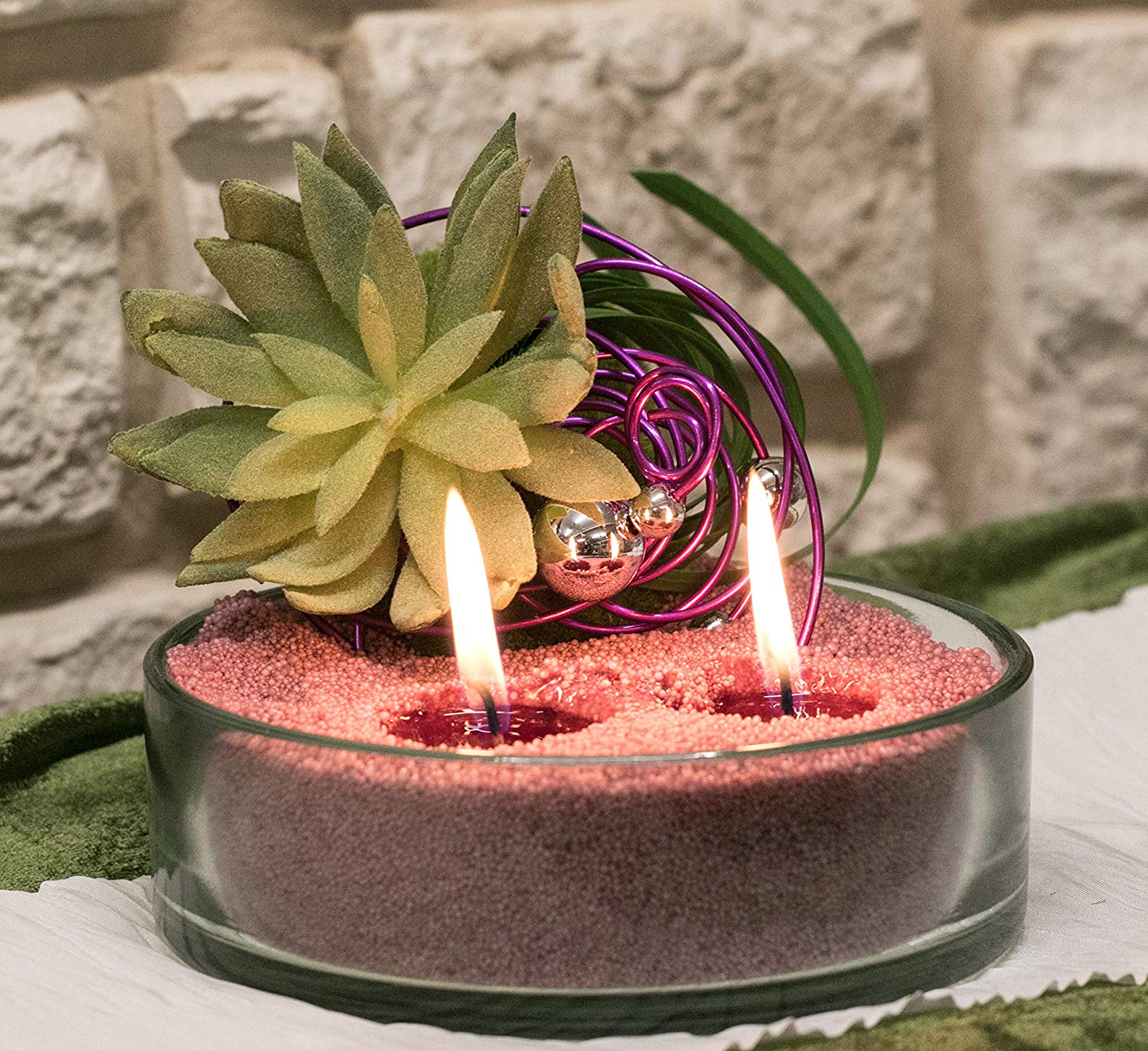 Candle Sand and floral candle idea