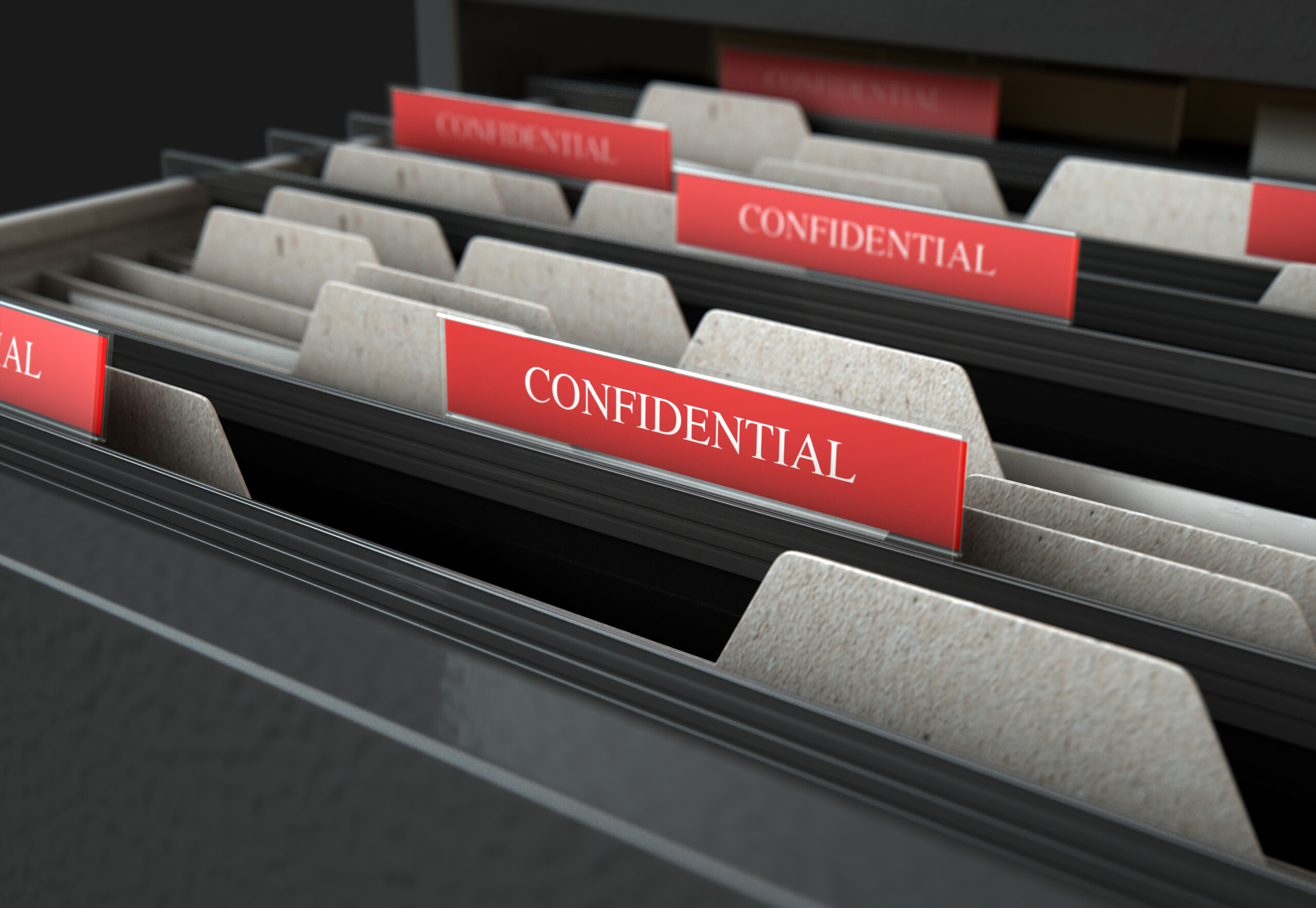 Confidential Filing Folders in Drawer