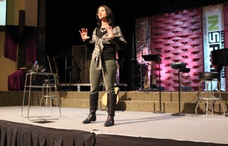 Lisa Morrone giving keynote at Inspire for Health