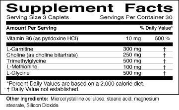 Lipotropic Plus Supplement Nutrition Facts