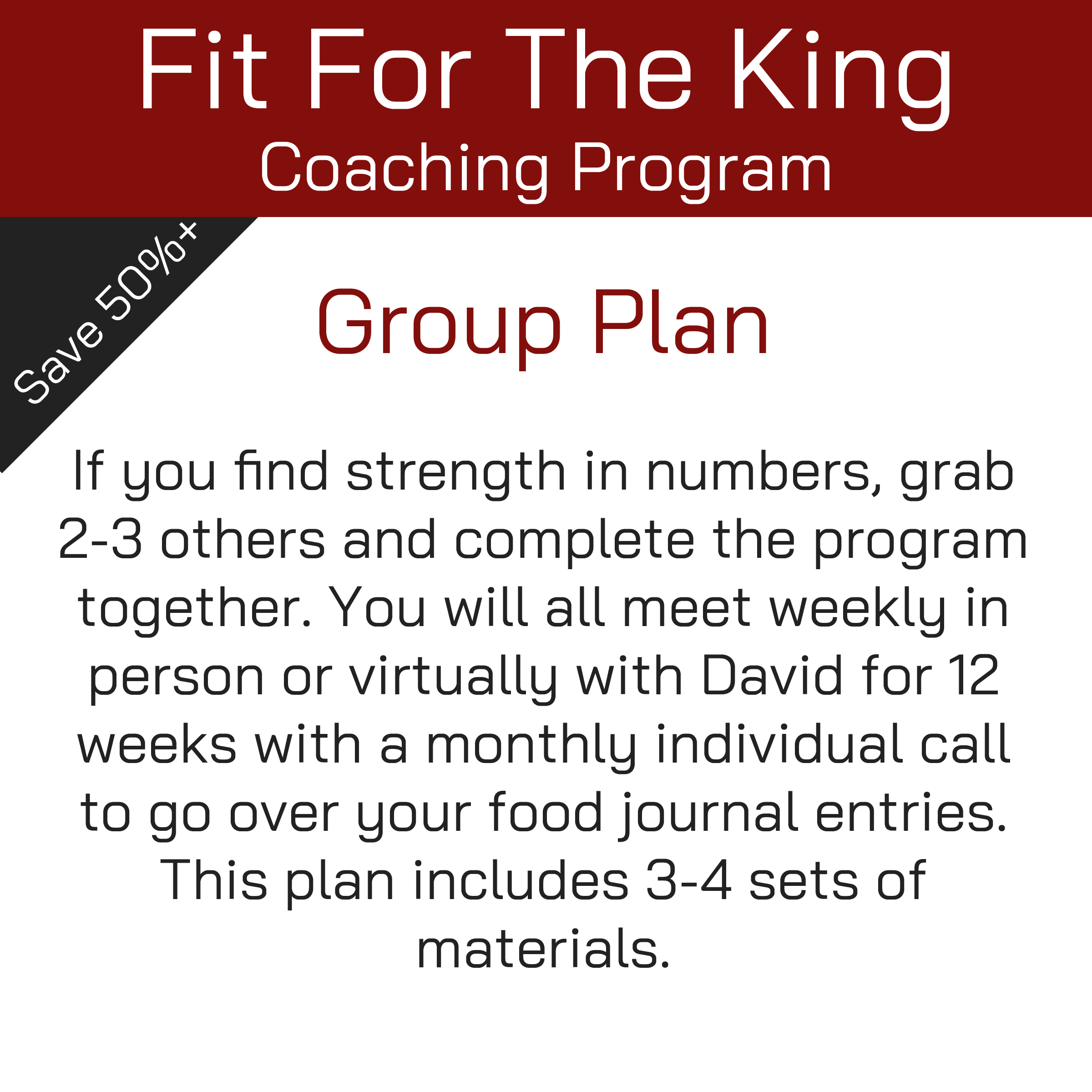 Fit For The King Coaching Program - Group's Plan