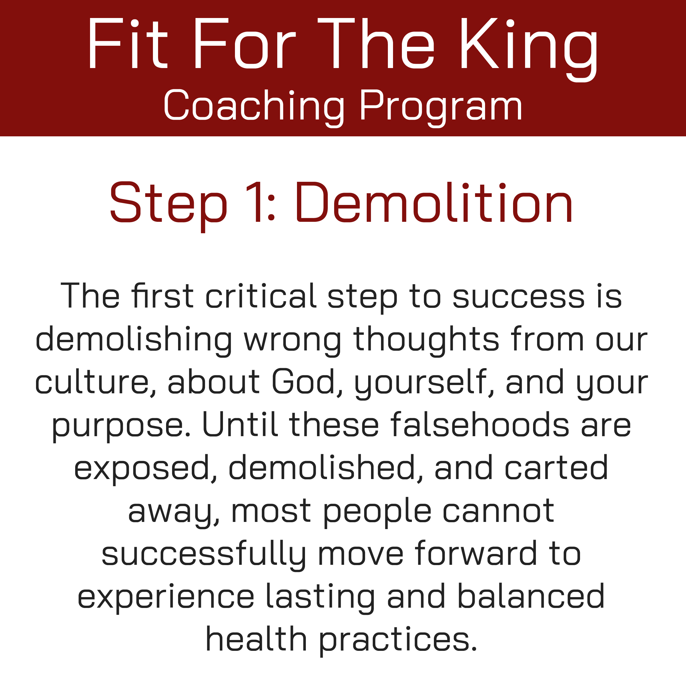 FFTK Coaching Program - Demolition