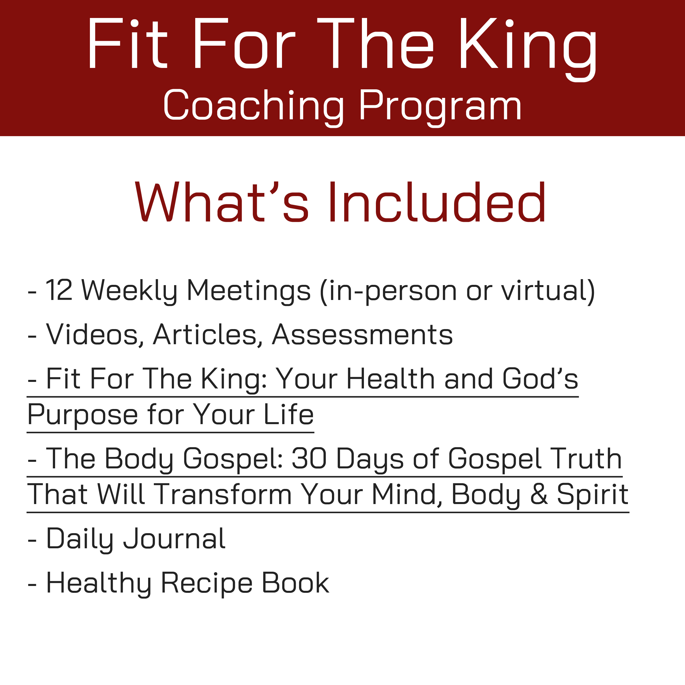 FFTK Coaching Program - What's Included