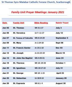Family Unit Prayer Meetings
