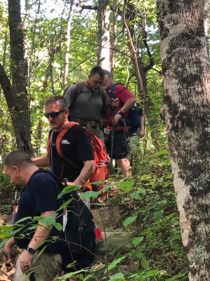 Lonnie Bedwell, second from bottom in line of Appalachian Trail backpackers, discovered in BVA's Operation Peer Support initiative a fellowship of blinded veterans that is priceless.