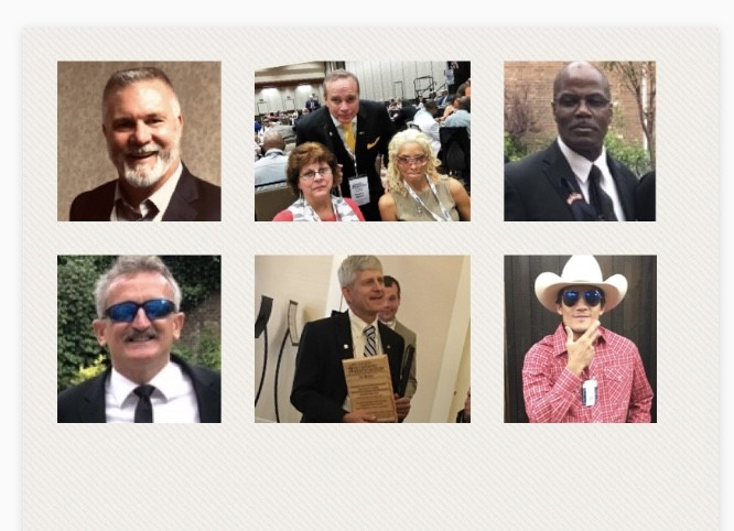 Collage of 6 images of BVA members and important people