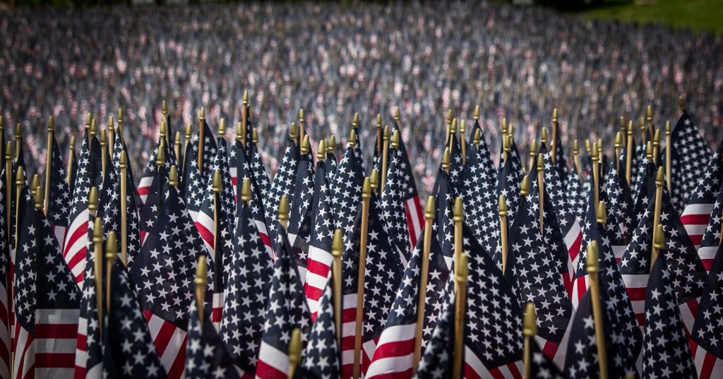 Thousands of American Flags in rows