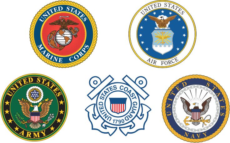 Logos of all divisions of the armed forces.