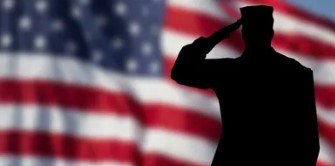 Silhouette of soldier saluting American flag