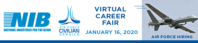 NIB Logo with Virtual Career Fair text next to it. Also, an airplane flying that says the Airforce is hiring.